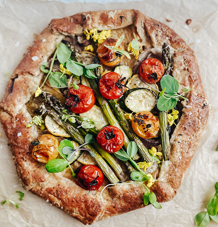 Spring Garden Vegetable Galette Recipe with Chevre Cheese, the perfect easy recipe to make for brunch