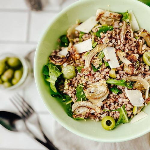 Warm Mixed Grain Salad Recipe with Roasted Fennel and Dandelion Greens. Easy vegetarian or vegan lunch idea. Simple side dish for a picnic or summer bbq