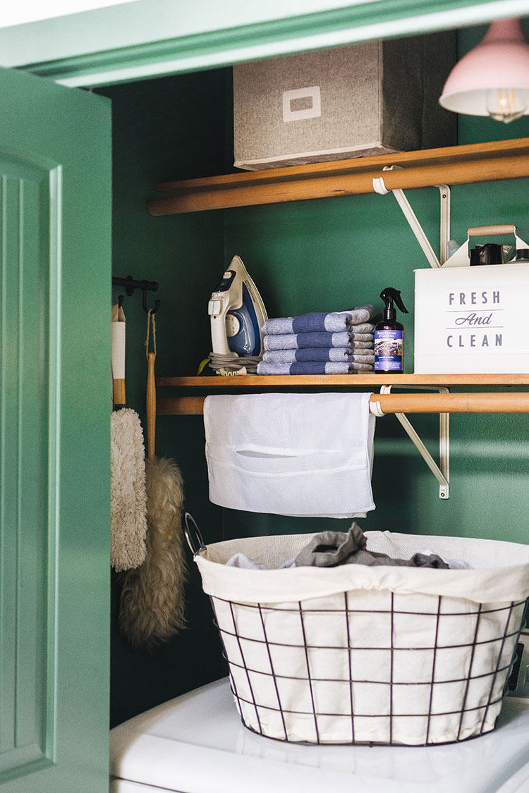 Small laundry closet organization ideas on a budget. storage tips, cleaning supply storage, stylish laundry baskets and more. Shop the post & learn more on jojotastic.com