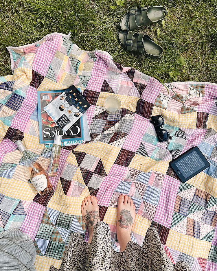 Dappled sunlight on a vintage patchwork quilt, lazy summer afternoon picnic with a kindle, magazines, rosé, sunscreen and more. A quick life update about my health, our cabin, our pets, my business, and more.