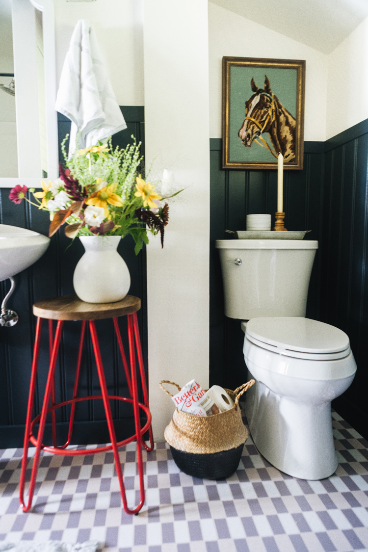 Before & After: Our PNW Cabin Guest Bathroom Makeover on a budget with @bhglivebetter @walmart with stylish and affordable towels, bath mats, candles, brass faucet, light fixtures, shower curtain, and more. Shop the post & learn more on jojotastic.com #BHGlivebetter #walmart #betterhomesandgardens #AD