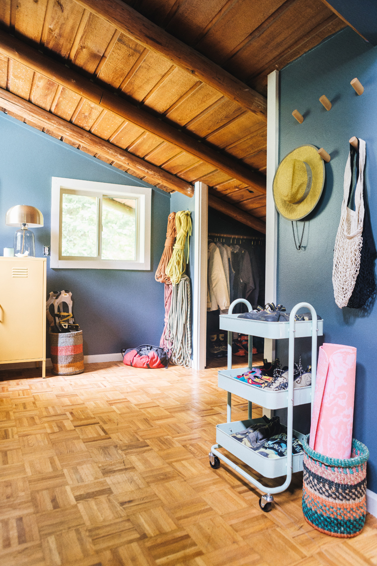 Makeover Reveal, Meet Our Gear Room in our PNW cabin + Organization Tips for Outdoor Gear for rock climbing, skiing, hiking, snowshoeing, camping, backpacking and other outdoor activities and sports