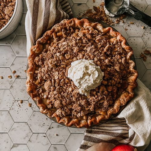 Cinnamon Sugar Spiced Crumble Apple Pie Recipe. How to make a traditional apple pie with homemade crust and a Spiced Cider Filling