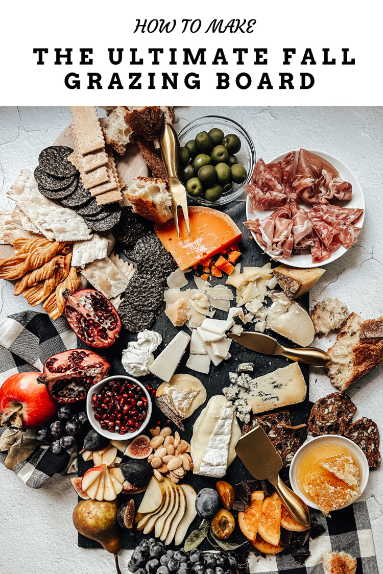 how to make the ultimate fall inspired grazing board, plus what is a grazing board and the difference between snacking boards and charcuterie boards. Cheese pairings, crackers, spreads, cured meat recommendations, cheese recommendations, and more!